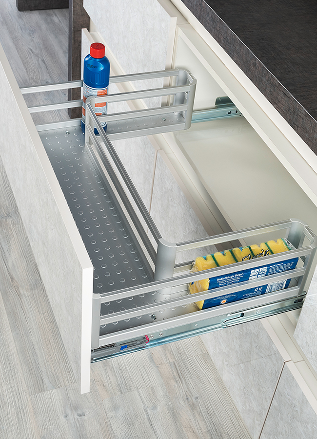 Aluminium Under-Sink Drawer Mounted To Lid