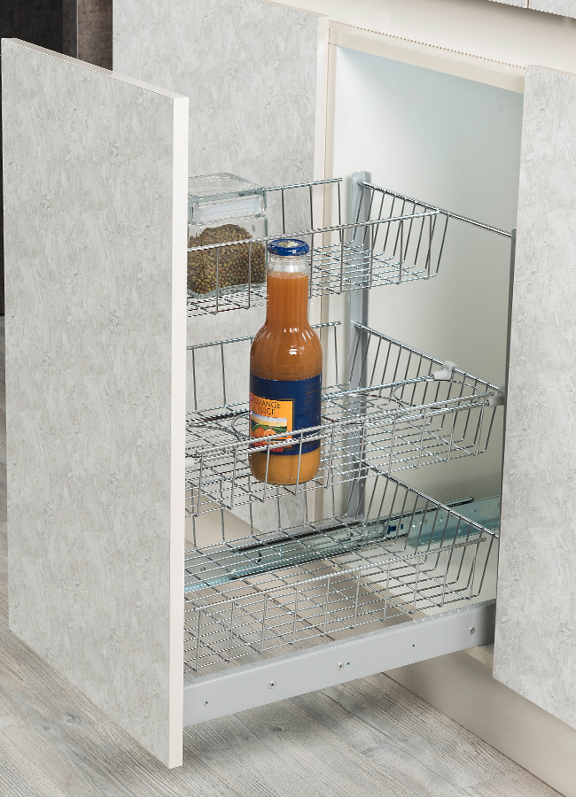 Under-Workbench Unit with 3 Baskets and Bottle Division
