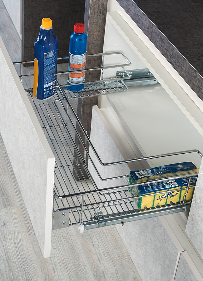 Under-Sink Drawer With Full Extension Tandem Rail Mounted To Lid